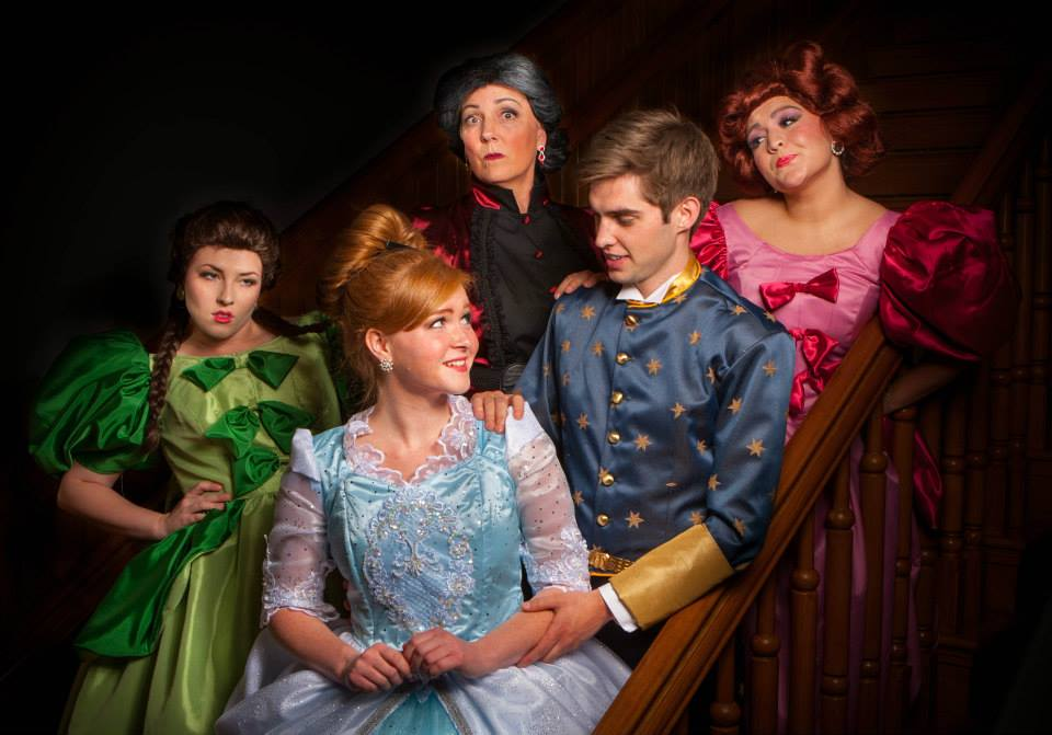 Back row: Alana Jeffery as Grace, Kathryn Lalyock Little as the stepmother, and McKelle Shaw as Joy. Front row: Jaymie Lambson as Cinderella and Parker Harmon as Prince Christopher.
