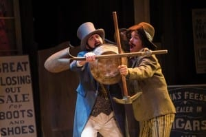 Chris Amos (left) as Antipholus of Syracuse and Aaron Galligan-Stierle as Dromio of Syracuse in the Utah Shakespeare Festival's 2014 production of The Comedy of Errors. (Photo by Karl Hugh. Copyright Utah Shakespeare Festival 2014.)