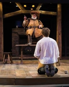 Henry Woronicz (left) as Sir John Falstaff and Sam Ashdown as Prince Hal in the Utah Shakespeare Festival's 2014 production of Henry IV Part One. (Photo by Karl Hugh. Copyright Utah Shakespeare Festival 2014.)