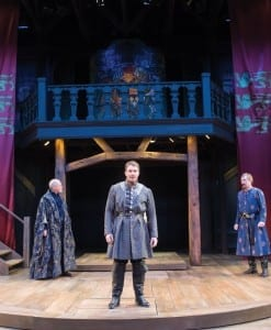 John Oswald (left) as Henry Percy, Steve Wojtas as Hotspur, and Jonathan Smoots as Thomas Percy in the Utah Shakespeare Festival's 2014 production of Henry IV Part One. (Photo by Karl Hugh. Copyright Utah Shakespeare Festival 2014.)