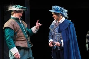 Jonathan Smoots (left) as Lucio and Zack Powell as Claudio in the Utah Shakespeare Festival's 2014 production of Measure for Measure. (Photo by Karl Hugh. Copyright Utah Shakespeare Festival 2014.)