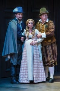 Kyle Eberlein (left) as a Gentleman, Natasha Harris as Juliet, and Michael A. Harding as Froth in the Utah Shakespeare Festival's 2014 production of Measure for Measure. (Photo by Karl Hugh. Copyright Utah Shakespeare Festival 2014.)