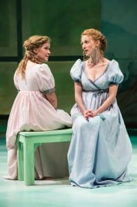 Eva Balistrieri (left) as Marianne Dashwood and Cassandra Bissell as Elinor Dashwood in the Utah Shakespeare Festival's 2014 premiere production of Sense and Sensibility. (Photo by Karl Hugh. Copyright Utah Shakespeare Festival 2014.)
