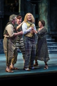 Roderick Peeples (left) as Sir Toby Belch, Eric Weiman as Fabian, Quinn Mattfeld as Sir Andrew Aguecheek, and Maryann Towne as Maria in the Utah Shakespeare Festival's 2014 production of Twelfth Night. (Photo by Karl Hugh. Copyright Utah Shakespeare Festival 2014.)