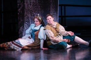 Melinda Pfundstein (left) as Baker's Wife and Brian Vaughn as Baker in the Utah Shakespeare Festival's 2014 production of Into the Woods. (Photo by Karl Hugh. Copyright Utah Shakespeare Festival 2014.)