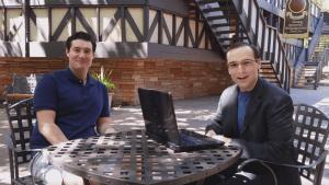 UTBA managing editor Russell Warne (right) interviews Kyle Eberlein (left) at the Utah Shakespeare Festival.