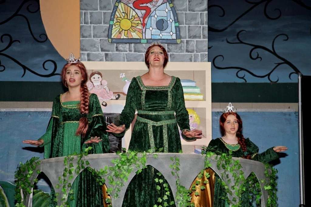 Zoe Fedderson as Teen Fiona, Bethany Hall as Fiona, and Cecelia Keel as Little Fiona. Photo by Tonia McPeak.