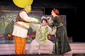 Layne B. Wilson as Shrek, Ryan Hoskins as Donkey, and Bethany Hall as Fiona. Photo by Tonia McPeak.