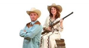Johnny Hebda as Frank Butler and Shannon Wilson as Annie Oakley. Photo by Isaac Goeckeritz.