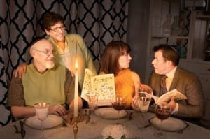 Left to right: Larson Holyoak as Abe Goldman, Karen Baird as Miriam Goldman, Jenny Latimer as Sarah Goldman, and Blake Barlow as Bob Schroeder. Photo by Pete Widtfeldt, CanIGetACopy.com.