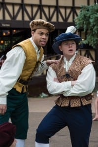 Jared Howelton (left) and James Sanders as Featured Performers in the Utah Shakespeare Festival's 2014 production of The Greenshow. (Photo by Karl Hugh. Copyright Utah Shakespeare Festival 2014.)