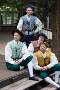 Tyler Sparacio (left, then clockwise) Josh Durfey, James Sanders, and Jared Howelton as Featured Performers in the Utah Shakespeare Festival's 2014 production of The Greenshow. (Photo by Karl Hugh. Copyright Utah Shakespeare Festival 2014.)