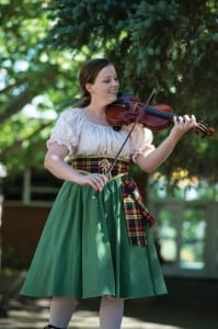 Hilary Stavros as a Musician in the Utah Shakespeare Festival's 2014 production of The Greenshow. (Photo by Karl Hugh. Copyright Utah Shakespeare Festival 2014.)