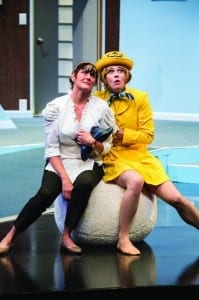 Maryanne Towne (left) as Berthe and Nell Geisslinger as Gretchen in the Utah Shakespeare Festival's 2014 production of Boeing Boeing. (Photo by Karl Hugh. Copyright Utah Shakespeare Festival 2014.)