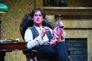 J. Todd Adams as Sherlock Holmes in the Utah Shakespeare Festival's 2014 production of Sherlock Holmes: The Final Adventure. (Copyright Utah Shakespeare Festival, 2014. Photo by Karl Hugh.)