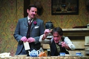 Brian Vaughn (left) as Doctor Watson and J. Todd Adams as Sherlock Holmes in the Utah Shakespeare Festival's 2014 production of Sherlock Holmes: The Final Adventure. (Copyright Utah Shakespeare Festival, 2014. Photo by Karl Hugh.)