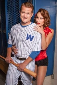 "M. Murphy Smith as Joe Hardy and Ashley Gardner Carlson as Lola in Hale Center Theater Orem's ""Damn Yankees."" Photo by Pete Widtfeldt, CanIGetACopy.com"