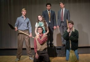 Standing back row: James Bounous as Elder Benson and John Lane as Elder Garn. Standing front row: Johnny Wilson as Godel and Carolyn Keller as Ava. Kneeling: Brian Russell Carey as Freymann and Brodi Bateman as Katz.