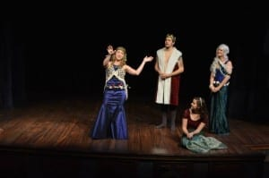 Standing, left to right: Becca Ashton as a mermaid daughter, Eric D. Geels as the Sea King, Jyllian Petrie as the grandmother. Seated: Christie Clark Rasmussen as Marina.