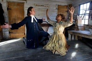L-R: J. Todd Adams (Reverend John Hale) and Stephanie Weeks (Tituba). Photo by Alexander Weisman.