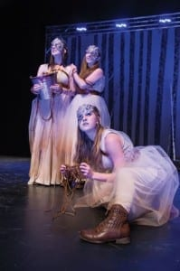 Molly Wetzel (left) as Witch, Natasha Harris as Witch, and Sceri Ivers as Witch in the Utah Shakespeare Festival's 2015 Shakespeare-in-the-Schools touring production of Macbeth. (Photo by Karl Hugh. Copyright 2015 Utah Shakespeare Festival.)
