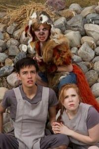 Top: Ryan Hopkins as Max. Bottom left: Brennan Newkirk as Zack. Bottom right: Briana Lindsay as Abra.