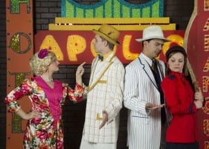 Left to right: Alyssa Orme as Adelaide, Bryan Thacker as Nathan Detroit, Corey Morris as Sky Masterson, and Cheyenne Lee as Sarah Brown in SCERA's Guys and Dolls.