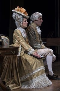 Betsy Mugavero (left) as Constanze Weber and David Ivers as Antonio Salieri in the Utah Shakespeare Festival's 2015 production of Amadeus. (Photo by Karl Hugh. Copyright Utah Shakespeare Festival 2015.)