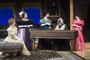 Allie Babich (left) as Ela Delahay, Christine Jugueta as Donna Lucia d' Alvadorez, Kelly Rogers as Amy Spettigue, Michael Doherty as Lord Fancourt Babberley, and Betsy Mugavero as Kitty Verdun in the Utah Shakespeare Festival's 2015 production of Charley's Aunt. (Photo by Karl Hugh. Copyright Utah Shakespeare Festival 2015.)