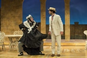 Michael Doherty (left) as Lord Fancourt Babberley and Brendan Marshall-Rashid as Jack Chesney in the Utah Shakespeare Festival's 2015 production of Charley's Aunt. (Photo by Karl Hugh. Copyright Utah Shakespeare Festival 2015.)