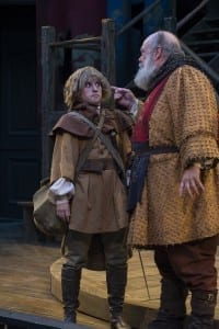 Sceri Sioux Ivers (left) as Falstaff's Page and John Ahlin as Sir John Falstaff in the Utah Shakespeare Festival's 2015 production of King Henry IV Part Two. (Photo by Karl Hugh. Copyright Utah Shakespeare Festival 2015.)