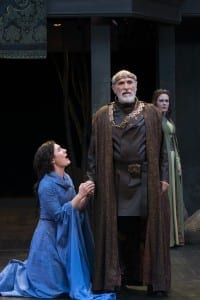 Kelly Rogers (left) as Cordelia, Tony Amendola as Lear, and Saren Nofs-Snyder as Regan in the Utah Shakespeare Festival's 2015 production of King Lear. (Photo by Karl Hugh. Copyright Utah Shakespeare Festival 2015.)