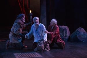 Larry Bull (left) as Earl of Kent, Tony Amendola as Lear, and David Pichette as Fool in the Utah Shakespeare Festival's 2015 production of King Lear. (Photo by Karl Hugh. Copyright Utah Shakespeare Festival 2015.) Show closes September 4, 2015.