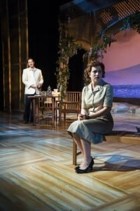 Michael Scott Harris (left) as Emile de Becque and Allie Babich as Ensign Nellie Forbush in the Utah Shakespeare Festival's 2015 production of South Pacific. (Photo by Karl Hugh. Copyright Utah Shakespeare Festival 2015.)