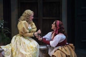 Natasha Harris (left) as Bianca and Melinda Pfundstein as Katherine in the Utah Shakespeare Festival's 2015 production of The Taming of the Shrew. (Photo by Karl Hugh. Copyright Utah Shakespeare Festival 2015.)