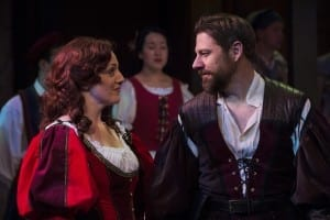 Melinda Pfundstein (left) as Katherine and Brian Vaughn as Petruchio in the Utah Shakespeare Festival's 2015 production of The Taming of the Shrew. (Photo by Karl Hugh. Copyright Utah Shakespeare Festival 2015.) Show closes September 5, 2015.