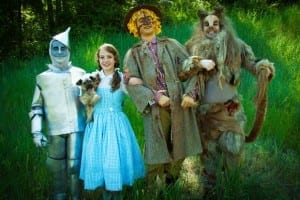 Maxwell Higbee as the Tinman, Hannah Pyper as Dorothy, C. McKay Nicoll as the Scarecrow, and Wade Jonson as the Lion. Photo by Jaron Kent Hermansen.