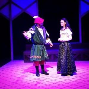 Bryson Dumas as Polonius and Jessica Wilson as Ophelia.