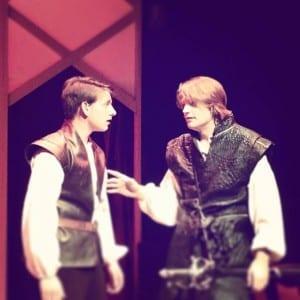 Cameron Ballard as Horatio and Spencer Hohl as Hamlet.