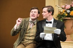 Michael Doherty (left) as Speed John Maltese as Valentine in the Utah Shakespeare Festival's 2015 production of The Two Gentlemen of Verona. (Photo by Karl Hugh. Copyright Utah Shakespeare Festival 2015.)