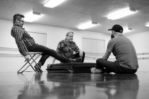 In Rehearsal. L-R: Alex Ungerman, Bob Nelson, Christopher Clark.