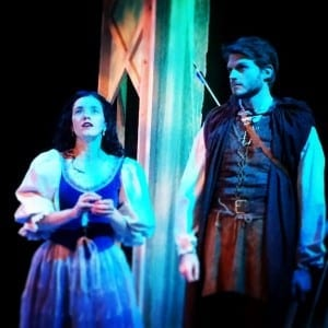 Aubrey Yates as Snow White and Spencer Hohl as the huntsman.