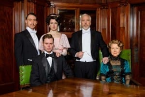 Left to Right: John Skelley as Gerald Croft, John Evans Reese as Eric Birling, Katie Wieland as Sheila Birling, Joseph Dellger as Arthur Birling, and Mia Dillon as Sybil Birling. Photo by Alexander Weisman.