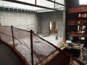View of the main Eccles Theater stage from one of the balconies.