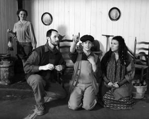 Left to right: Abbie Craig as Maizie, Jake Earnest, as Jonas Tucker, Ben Featherstone as Tuc, and Katie Jarvis as Nell Hicks. Photo by Mark A. Philbrick.
