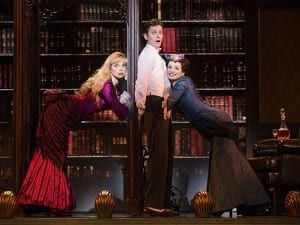 Kristen Beth Williams (Sibella Hallward), Kevin Massey (Monty Navarro) & Adrienne Eller (Phoebe D'Ysquith) in the national tour of A Gentleman's Guide to Love & Murder, photo by Joan Marcus.
