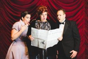 Left to right: Annie Ferrin as Georgia Hendricks, Melissa Platt as Carmen Bernstein, and Shelby Ferrin as Aaron Fox. Photo by Bre Welch.