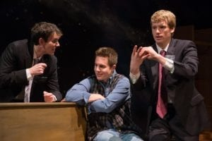 Left to right: Chris Rollins as Elder Wally Kestler, Alex Pierson as Tod, and Eric Taylor as Elder Harold Greene.