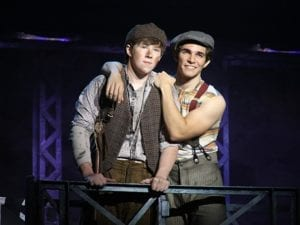 Andy Richardson as Crutchie and Joey Barreiro as Jack Kelly. Photo by Deen van Meer.