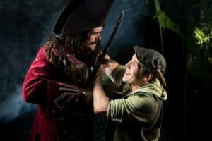 David Smith as Captain Hook and Josh Valdez as Peter Pan. Photo by Suzy Oliveira, SuzyO Photography.